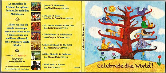 recto/verso du sampler promotionnel Putumayo World Music Celebrate the world