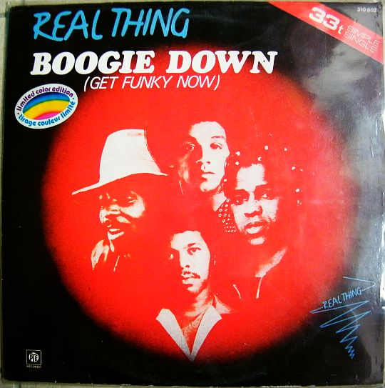 recto du maxi 33 tours collector rouge de Real Thing - Boogie down (get funky now)
