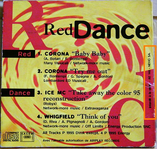 verso de la pochette cartonnée du mini CD sampler Collector interdit à la vente RED DANCE
