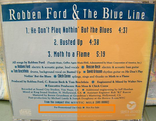 verso du maxi CD sampler promotionnel collector de Robben Ford and the Blue Line