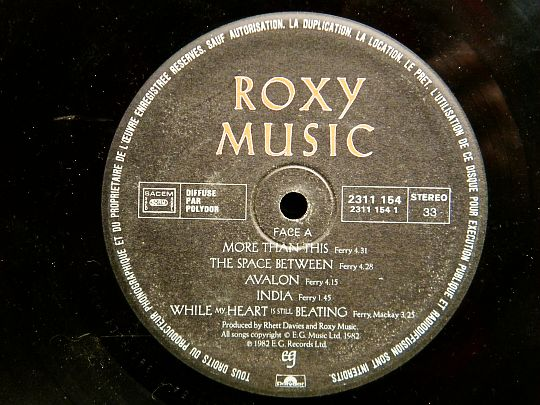 face A d'Avalon par Roxy Music