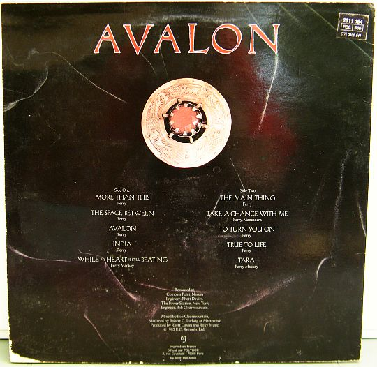 pochette verso de Roxy Music - Avalon