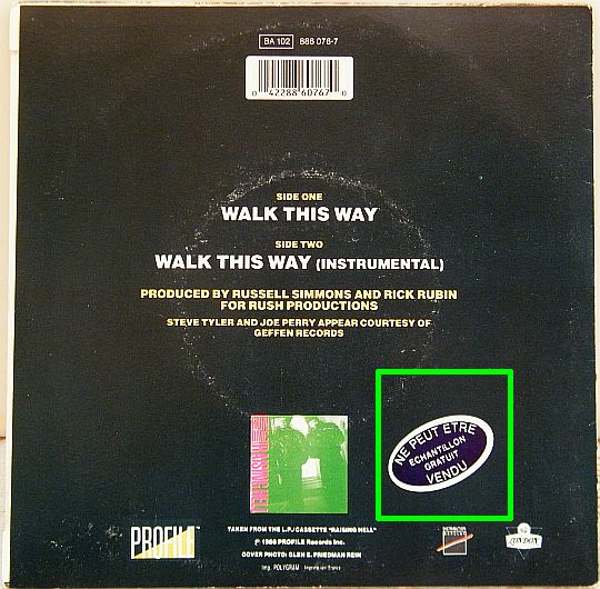 verso du 45 tours Collector promo de Run DMC avec AEROSMITH - Walk this way