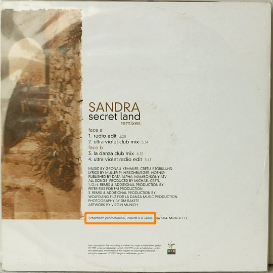Sandra - secret land pochette verso
