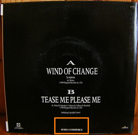 verso de la pochette Collector des SCORPIONS - Wind of change