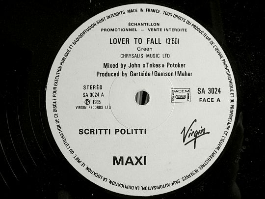 label face A du maxi promo de Scritti Politti - Lover to fall