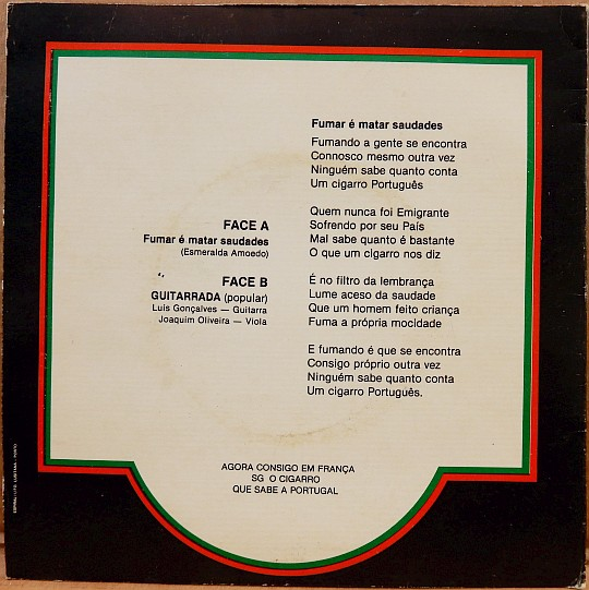 verso avec paroles de la pochette du 45 tours promo White Label SG Gigante