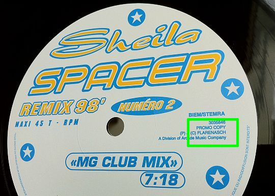 label face A du maxi promo de Sheila - Spacer remix 98 MG club mix