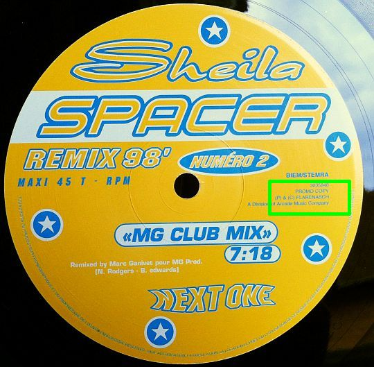 label face B du maxi promo de Sheila - Spacer remix 98 MG club mix