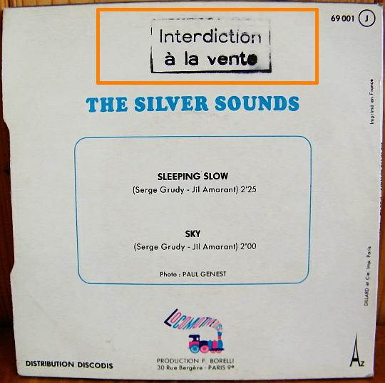 pochette verso du 45 tours promo des Silver Sounds - Sleeping slow