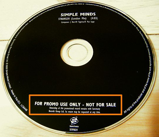 CD monotitre promo des Simple Minds - Stranger