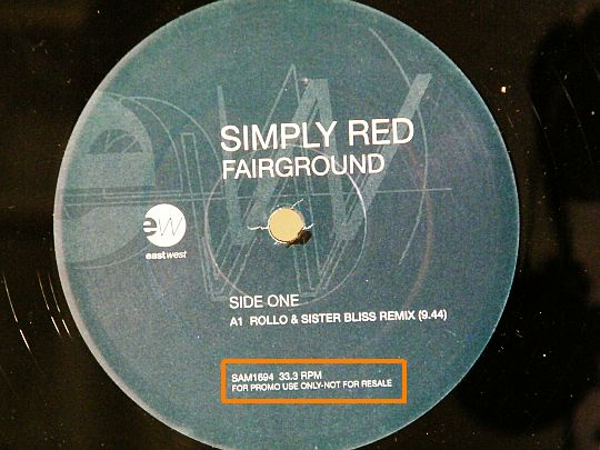 maxi promo Simply Red - Fairground face A