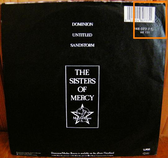 verso du 45 tours promo Dominion des Sisters of Mercy
