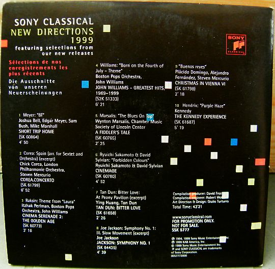 verso du CD sampler Collector promo Sony Classical New Directions 1999