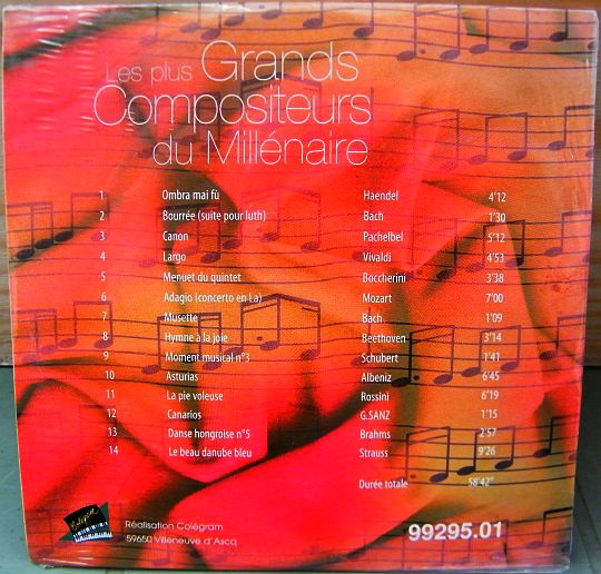 verso du CD sampler Collector neuf scellé Sony DADC - Grands compositeurs du millénaire