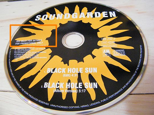 disque compact promotionnel de Soundgarden - Black hole sun