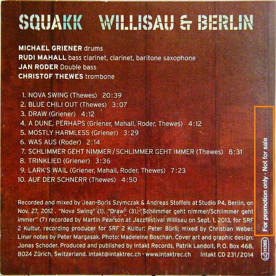 verso pochette du CD sampler Collector Willisau und Berlin par SQUAKK