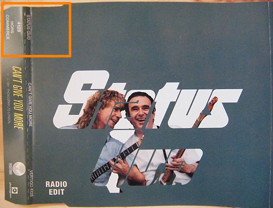 recto du cd single promotionnel hors commerce de Status Quo - Can't give you more