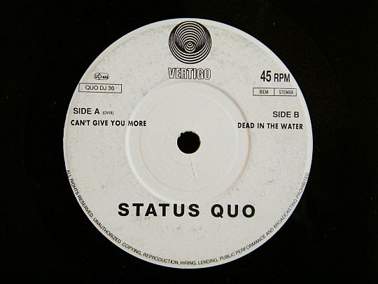 face B du 45 tours promo de Status Quo - Dead in the water