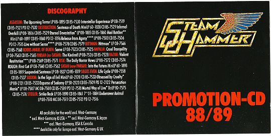 livret recto du sampler promotionnel 88/89 Steamhammer