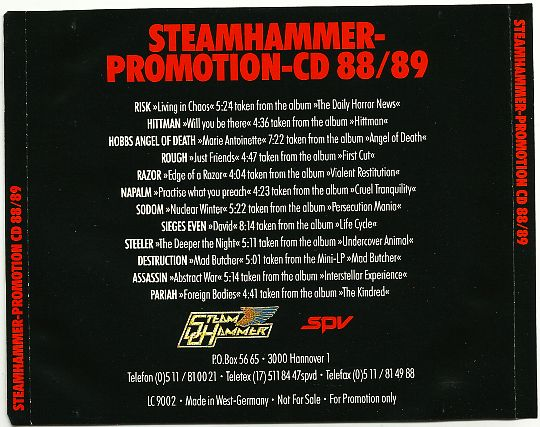 verso du CD Promotion Steamhammer 88-89