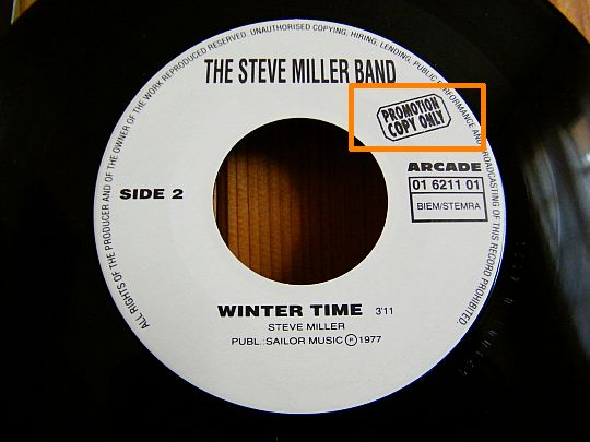 face 2 du 45 tours promo du Steve Miller Band - Winter time