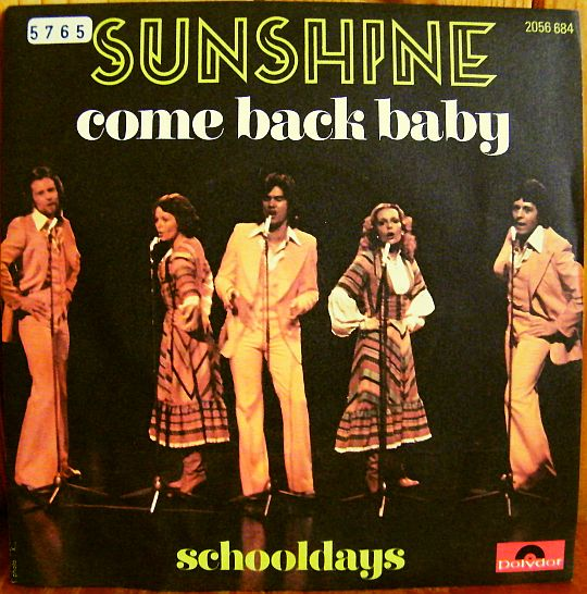 recto du 45 tours Collector de Sunshine - Come back baby
