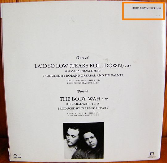 verso du 45 tours promo hors commerce de Tears For Fears - The body wah