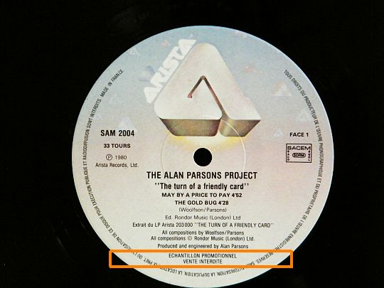 face A du sampler promo d'Alan Parsons Project - The turn of a friendly card vente interdite