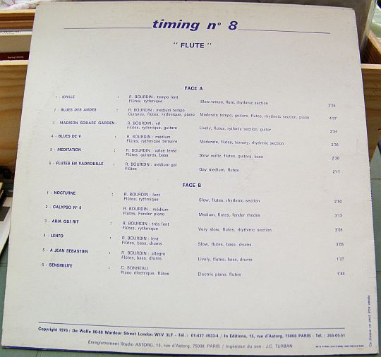 verso du LP Collector de Roger Bourdin - Timing 8, confidences d'un flûtiste