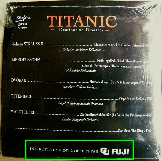 verso de la pochette cartonnée du CD sampler Collector Titanic - Destination disaster