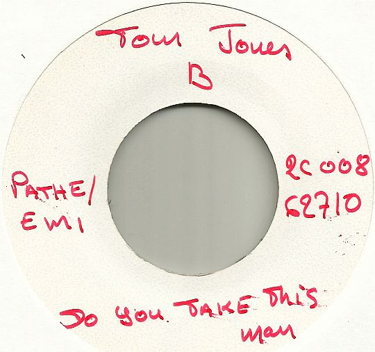 White Label face B du 45t Collector de Tom Jones - Do you take this man dans Poesie-Sonore.com