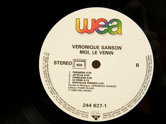 label face 2 du LP promo de Véronique Sanson - moi le venin Collector