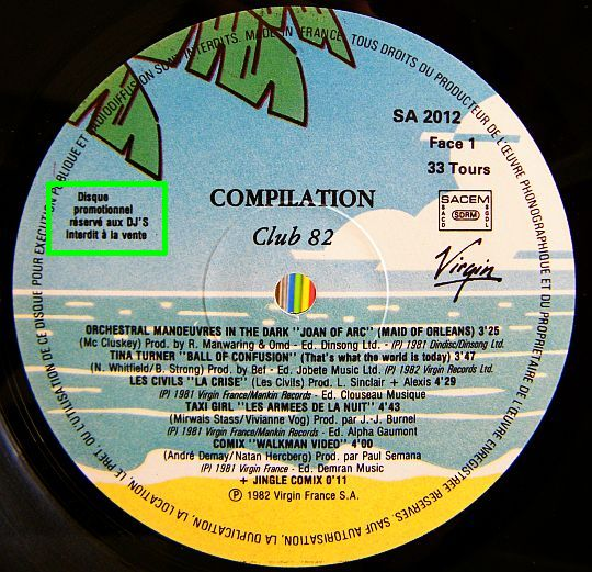 compilation promo Virgin Club 82 face 1
