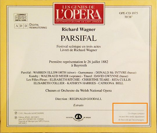 pochette verso du CD Collector Parsifal par Wagner