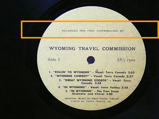 face A du LP offert par la Wyoming Travel Commission