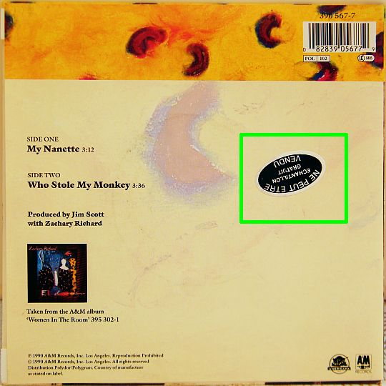pochette verso du 45 tours promo de Zachary Richard - Who stole my monkey