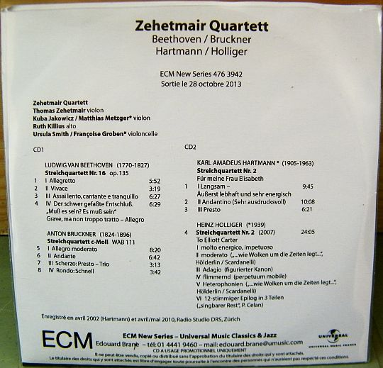 verso du double CD sampler Collector promo du Zehetmair Quartett